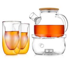 """Заварочный чайник с подогревом от свечи и синими рельефными стаканами - набор """"Бамбук SG2"""""""