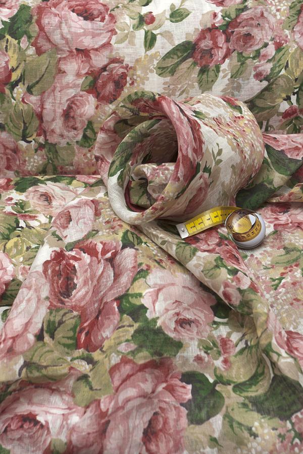 Натуральная льняная вуаль, рисунок розы 1
