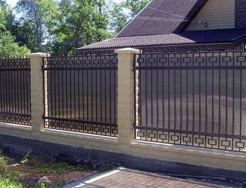 Кованый забор с поликарбонатом N-5