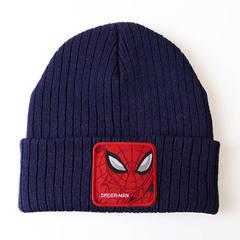Вязаная шапка с отворотом и вышивкой Spider-Man (Человек-паук), синяя