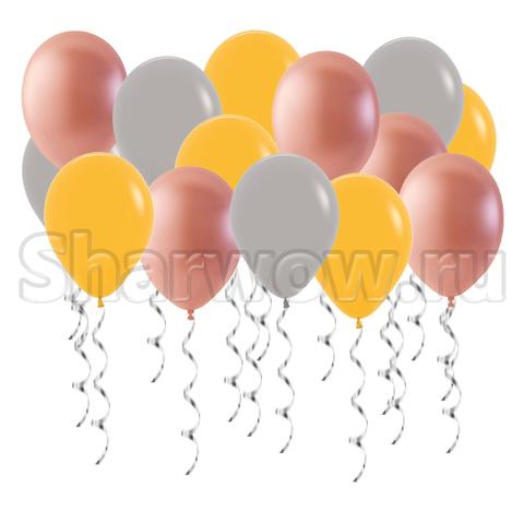 Воздушные шары под потолок Розовое золото, золотистый желтый и серый