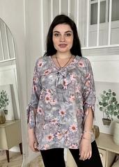 Ріма. Вільна жіноча блуза з зав'язками. Сірі квіти