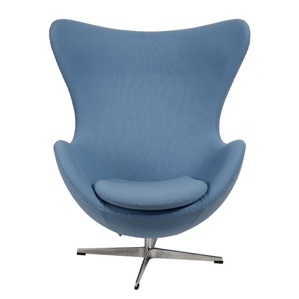 Кресло Arne Jacobsen Style Egg Chair голубая шерсть - вид 3