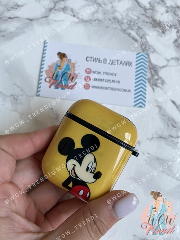 Чехол AirPods Silicone Print design /Mickey yellow/