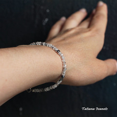 Тонкий браслет из турмалинового кварца