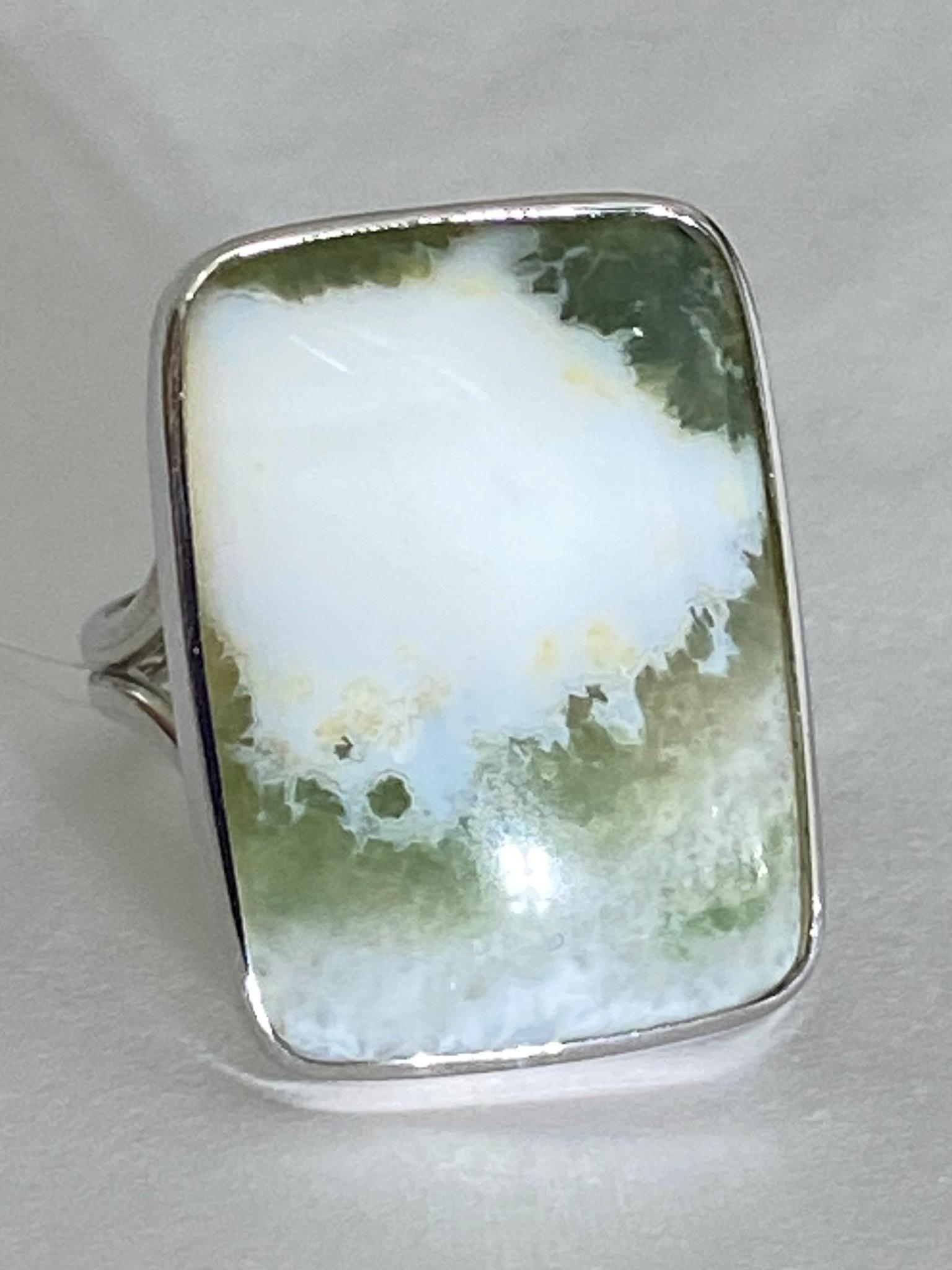 Агат прямоугольник (кольцо из серебра)