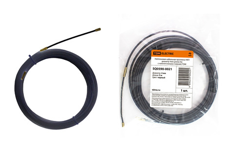 Нейлоновая кабельная протяжка НКП диаметр 4мм длина 5м с наконечниками (черная) TDM