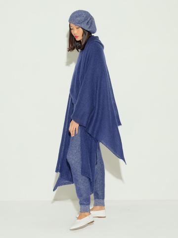Женский шарф темно-синего цвета из мохера и шерсти - фото 3