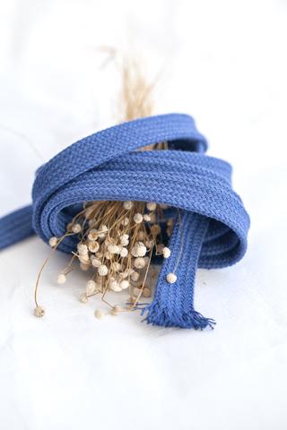 Плоский хлопковый  шнур деним 11 мм