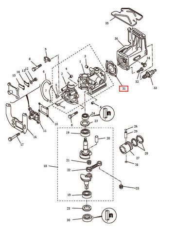 Прокладка головки блока цилиндров  для лодочного мотора T2,5 SEA-PRO (2-31)