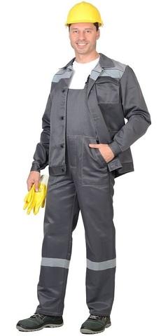 Костюм  куртка полукомбинезон темно-серый со светло-серым