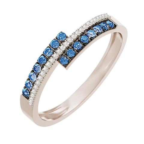 Кольцо из белого золота с бриллиантами и сапфирами