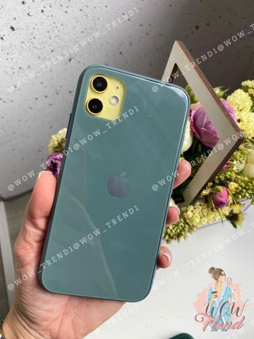 Чехол iPhone 11 Glass Pastel color Logo /pine green/
