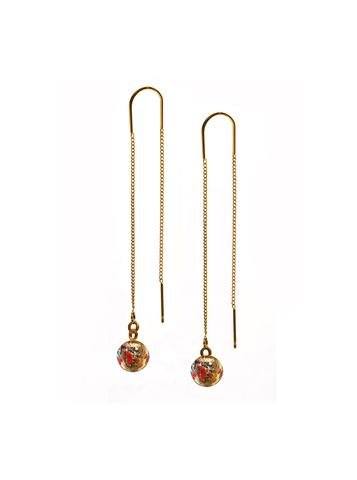 Серьги из муранского стекла на цепочке с бусиной Long Ca'D'oro Pestaccio Red