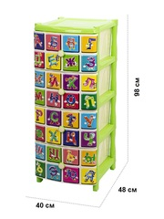 Комод детский №3 с рисунком Алфавит 4-х секционный салатовый из пластика Эльфпласт 40х48х98 см
