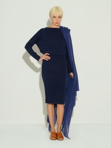 Женский шарф темно-синего цвета из мохера и шерсти - фото 4