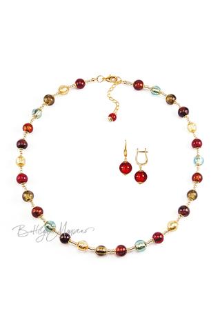 Комплект Carnavale Oro (красные серьги на серебре, ожерелье)