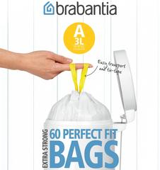 Мешки для мусора PerfectFit, размер А (3 л), упаковка-диспенсер, 60 шт.