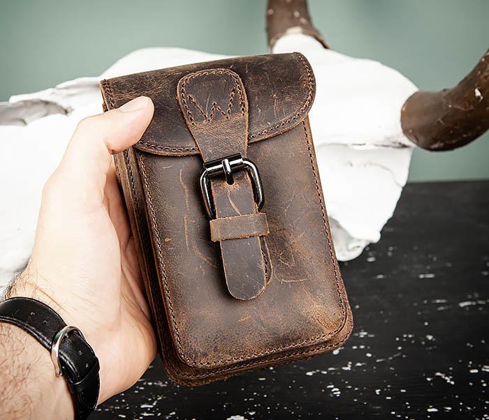 BAG498-2 Мужская кожаная сумка на пояс коричневого цвета фото 09