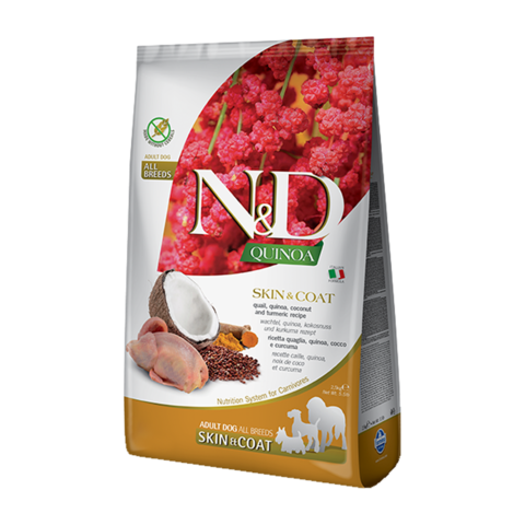 Farmina Quinoa Skin&Coat Quail Сухой корм для собак для здоровья кожи и шерсти Перепел с Киноа беззерновой