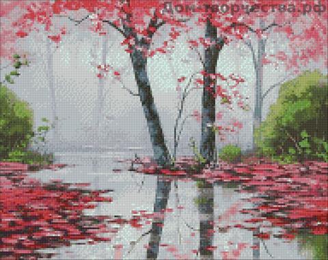 Картина раскраска по номерам 50x65 Розовые деревья у воды (арт. RA3330)