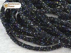 Шнур трубчатый стразовый черный хамелеон 40 см