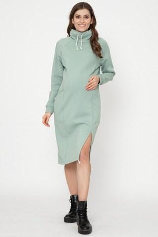 Утепленное спортивное платье для беременных и кормящих 12170 мята