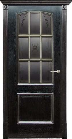 Дверь Халес Верона (черный абрикос, остекленная, массив хвойных пород)
