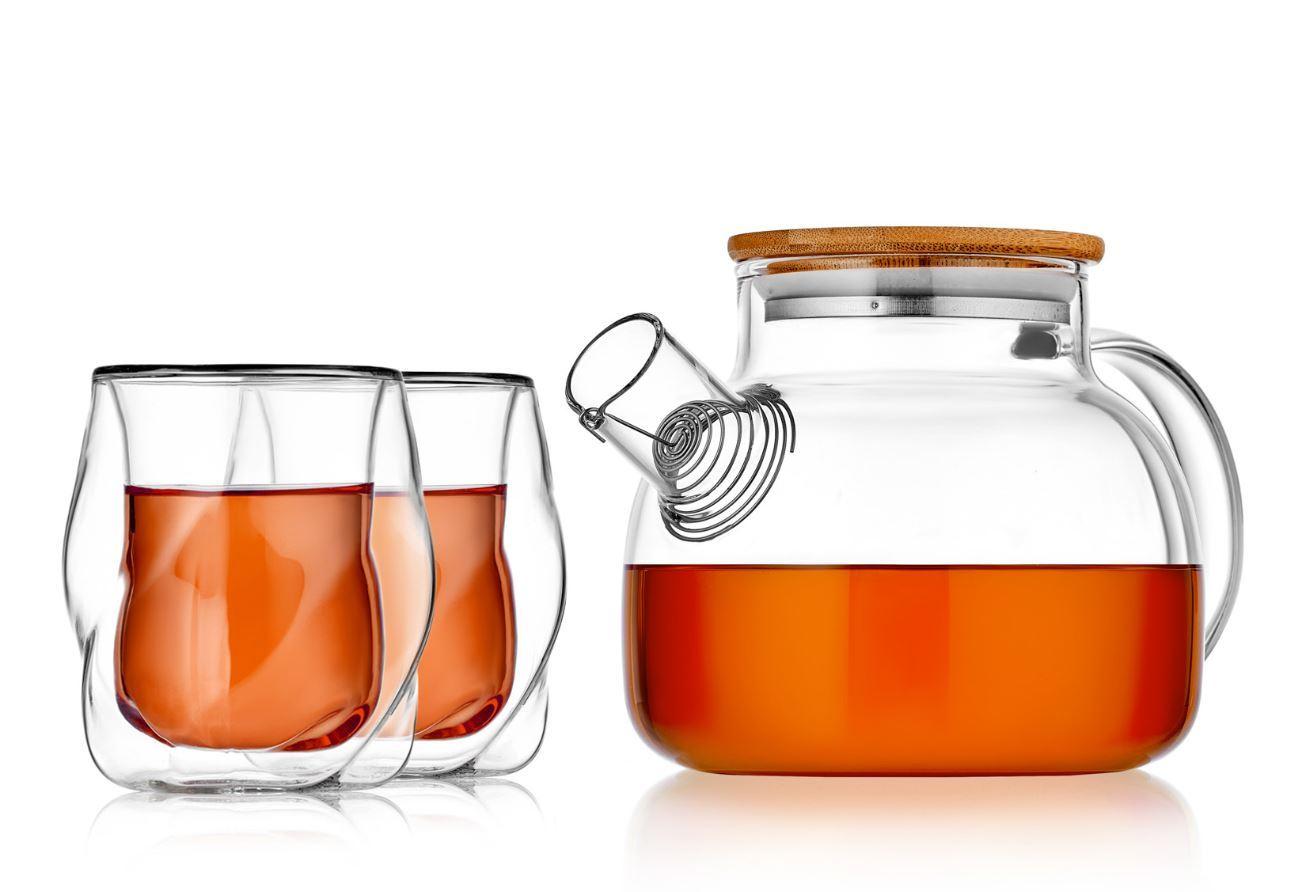 Заварочные стеклянные чайники Чайник заварочный 1л с бамбуковой крышкой со стаканами с двойными стенками 170 мл рельефной формы, набор B-BambooCron-teastar.JPG