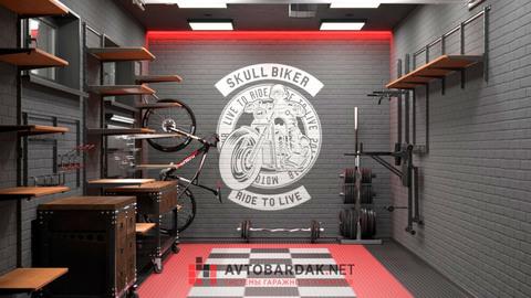 VR проект №7: лофт гараж 24,7 кв м  (деревянные полки и мебель из массива бука в брутальной металлической раме)