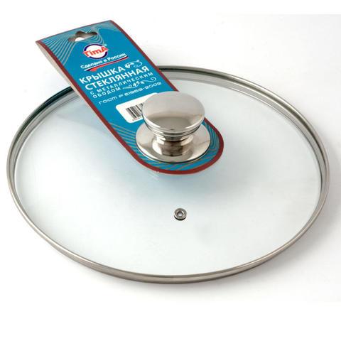 Крышка стеклянная с круглой металлической ручкой - Tima 320 мм