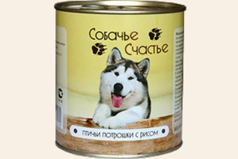 Собачье счастье Птичьи потрошки с рисом, 410г (упаковка 20 банок)