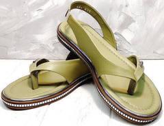 Стильные босоножки вьетнамки кожаные женские Evromoda 454-411 Olive.