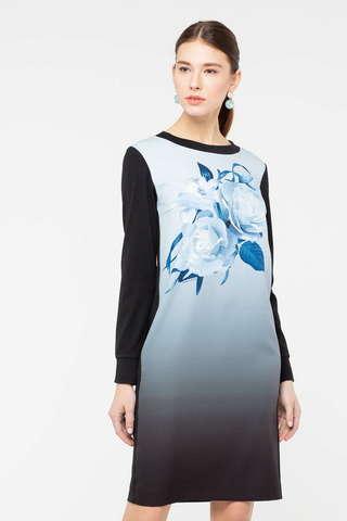 Фото платье прямого силуэта с крупным цветочным принтом - Платье З411-674 (1)