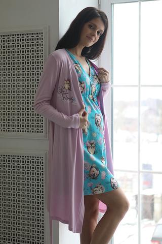 Комплект для беременных и кормящих с халатом и сорочкой 12750 бирюзовый/сиреневый