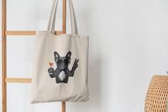Сумка-шоппер с принтом Собака, Французский бульдог (Dog) бежевая 0011