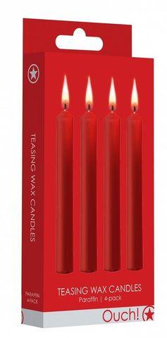 Набор из 4 красных восковых свечей Teasing Wax Candles