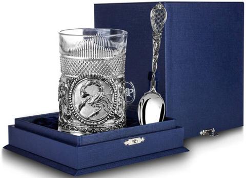 Cеребряный набор для чая «Скорпион» с чернением