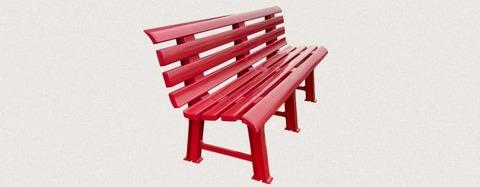 Пластиковая скамья полимерная красная