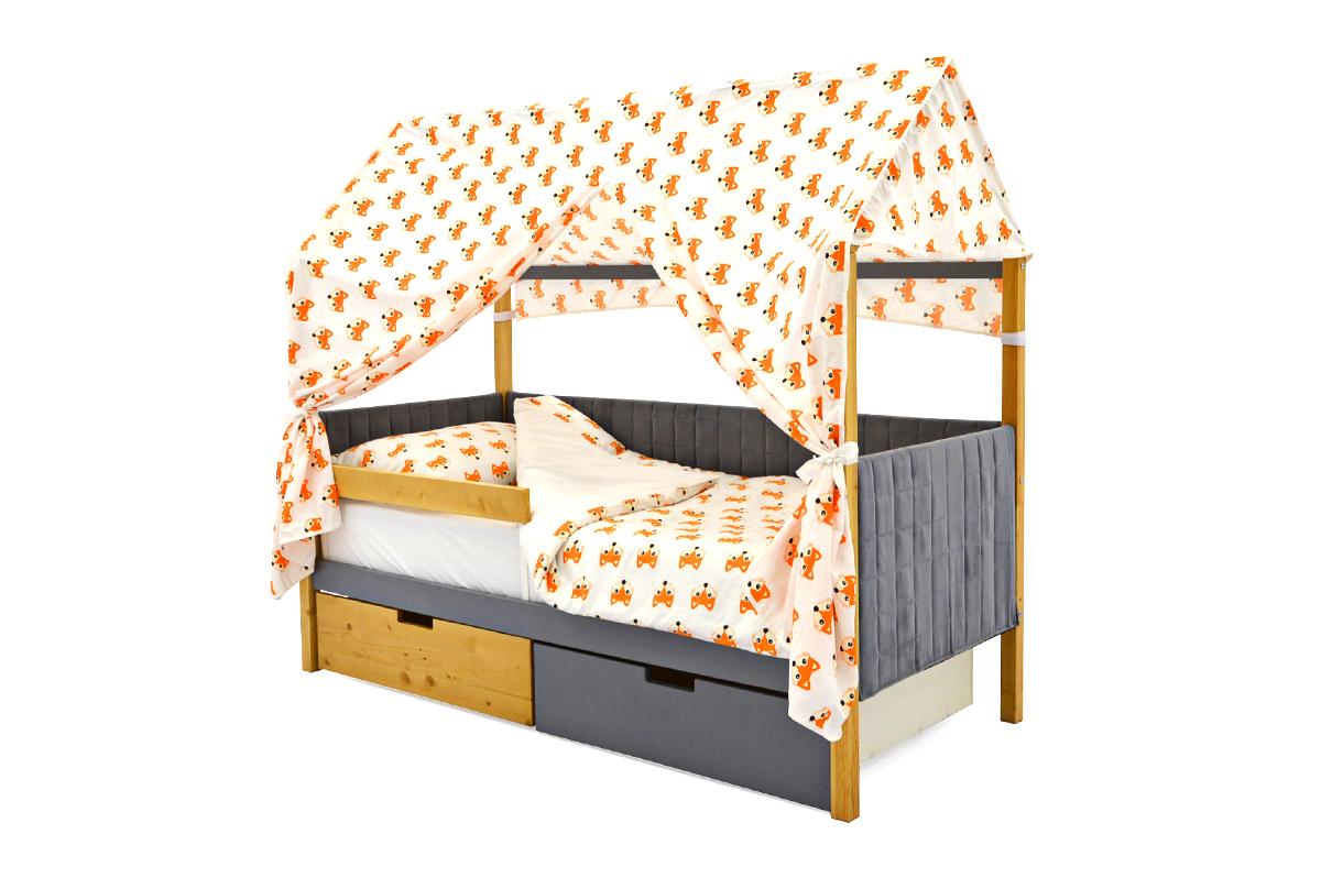 Кровать-домик мягкий «Svogen дерево-графит»