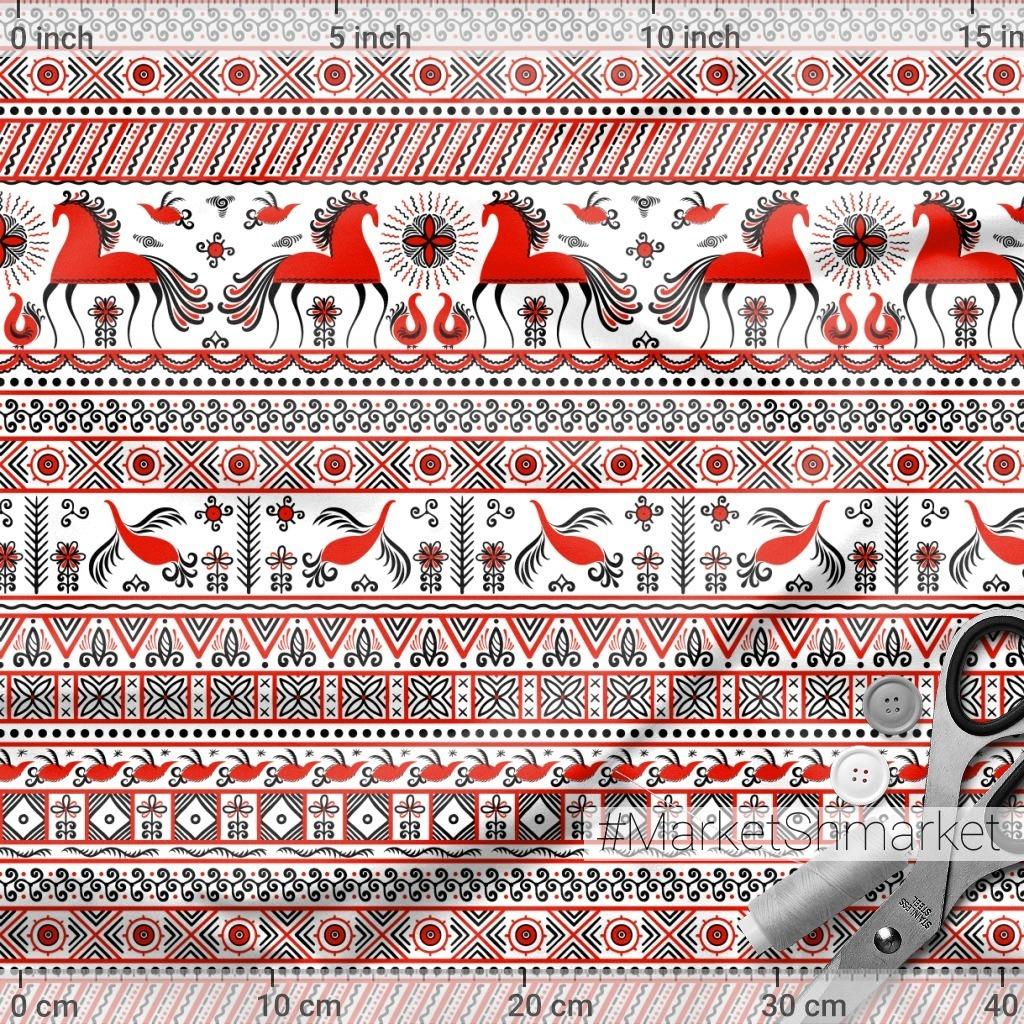 Лошади, птицы, солнце, цветы. Мезенская роспись. (Дизайнер Irina Skaska)