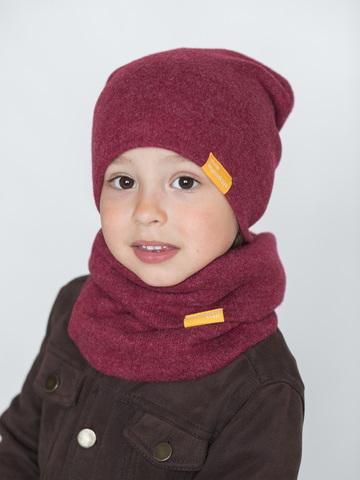 Детский снуд-горловинка из итальянской шерсти ягодный