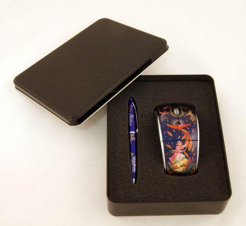 Набор мышь компьютерная и шариковая ручка 9801