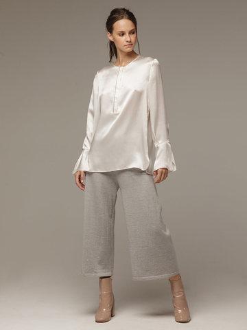 Женские серые брюки из 100% шерсти - фото 3