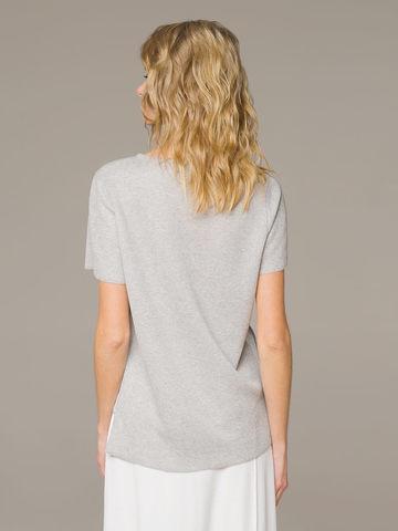 Женский джемпер с коротким рукавом серого цвета - фото 3