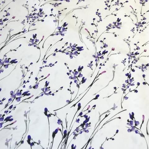 Ткань хлопок сатин с эластаном белый сереневые цветы 2095