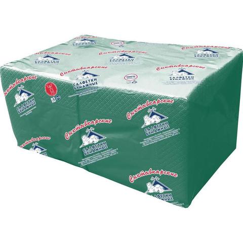 Салфетки бумажные Profi Pack 24x24 см зеленые 2-слойные 250 штук в упаковке