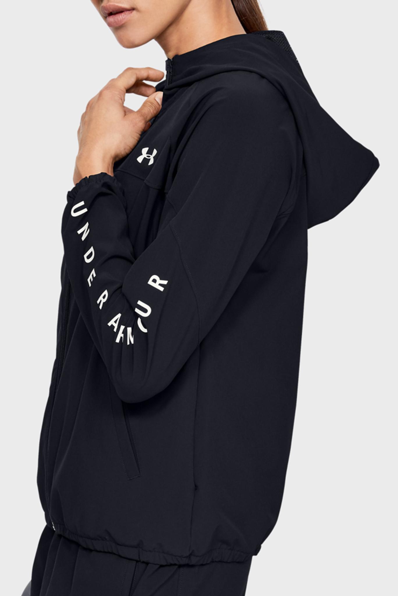 Женское черное спортивное худи Woven Hooded Jacket Under Armour