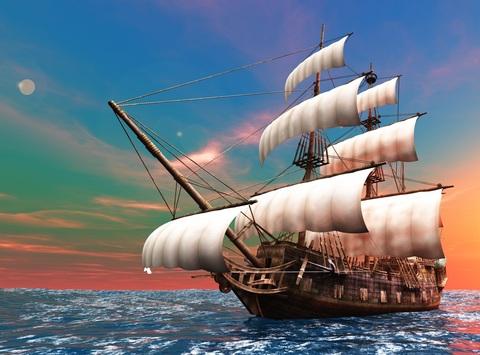 Алмазная Мозаика 30x40 Корабль на закате (арт. X027 )