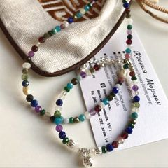 Комплект украшений из разноцветных камней - фото2